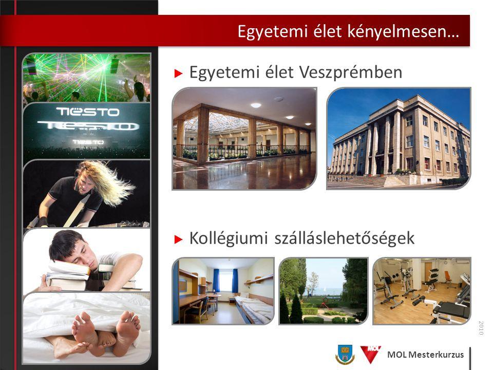 MOL Mesterkurzus Egyetemi élet kényelmesen… 2010  Egyetemi élet Veszprémben  Kollégiumi szálláslehetőségek