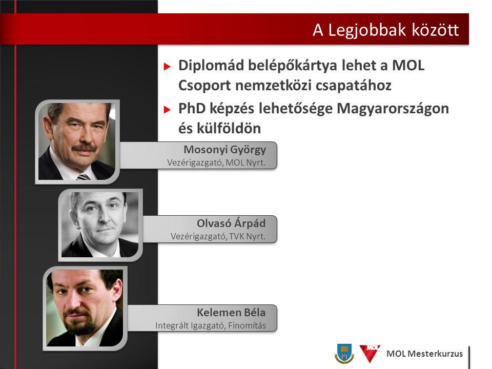 MOL Mesterkurzus  Diplomád belépőkártya lehet a MOL Csoport nemzetközi csapatához  PhD képzés lehetősége Magyarországon és külföldön A Legjobbak köz