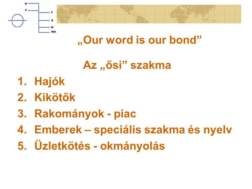 """""""Our word is our bond"""" Az """"ősi"""" szakma 1.Hajók 2.Kikötők 3.Rakományok - piac 4.Emberek – speciális szakma és nyelv 5.Üzletkötés - okmányolás"""