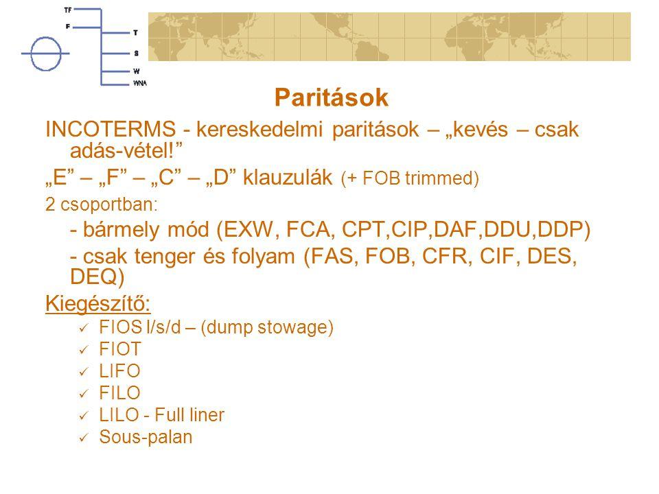 """Paritások INCOTERMS - kereskedelmi paritások – """"kevés – csak adás-vétel! """"E – """"F – """"C – """"D klauzulák (+ FOB trimmed) 2 csoportban: - bármely mód (EXW, FCA, CPT,CIP,DAF,DDU,DDP) - csak tenger és folyam (FAS, FOB, CFR, CIF, DES, DEQ) Kiegészítő: FIOS l/s/d – (dump stowage) FIOT LIFO FILO LILO - Full liner Sous-palan"""