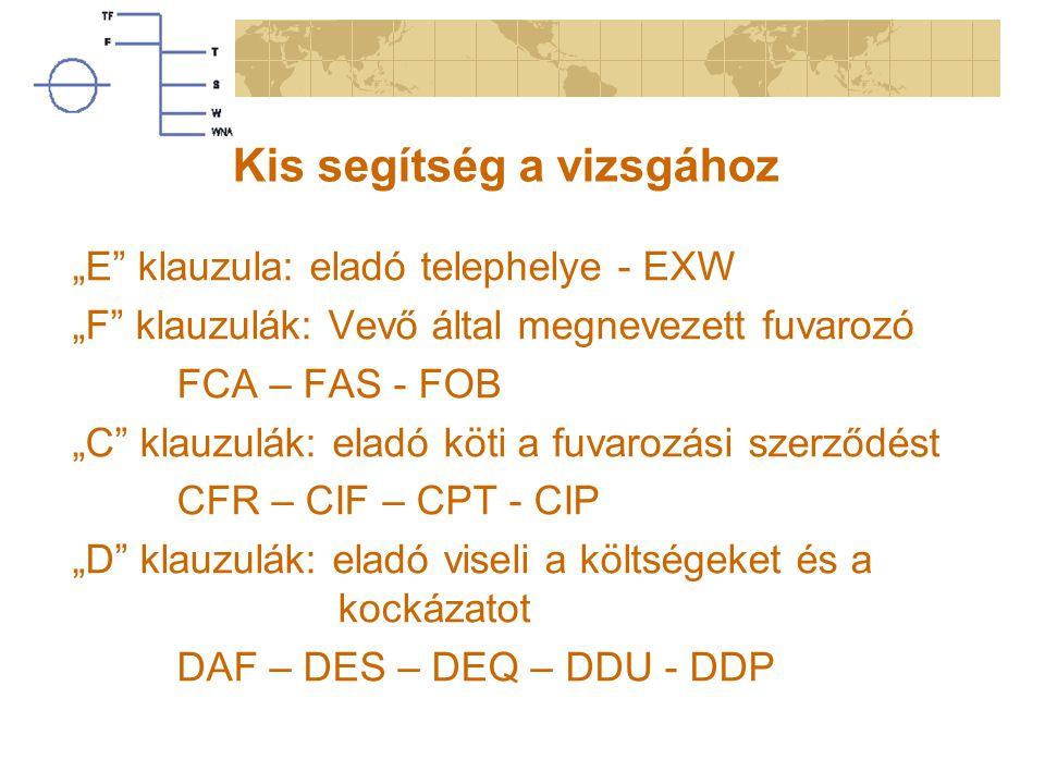 """Kis segítség a vizsgához """"E klauzula: eladó telephelye - EXW """"F klauzulák: Vevő által megnevezett fuvarozó FCA – FAS - FOB """"C klauzulák: eladó köti a fuvarozási szerződést CFR – CIF – CPT - CIP """"D klauzulák: eladó viseli a költségeket és a kockázatot DAF – DES – DEQ – DDU - DDP"""