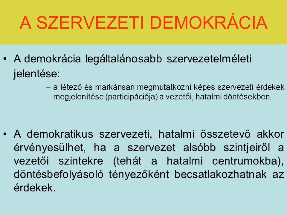 A SZERVEZETI DEMOKRÁCIA A demokrácia legáltalánosabb szervezetelméleti jelentése: –a létező és markánsan megmutatkozni képes szervezeti érdekek megjelenítése (participációja) a vezetői, hatalmi döntésekben.
