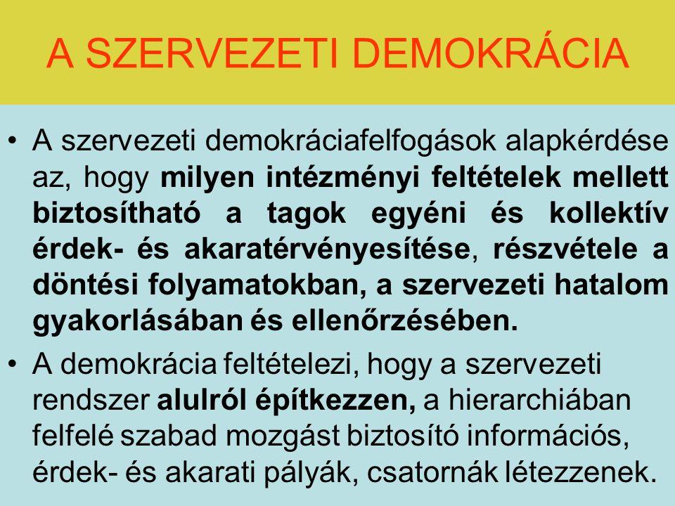 A SZERVEZETI DEMOKRÁCIA A szervezeti demokráciafelfogások alapkérdése az, hogy milyen intézményi feltételek mellett biztosítható a tagok egyéni és kollektív érdek- és akaratérvényesítése, részvétele a döntési folyamatokban, a szervezeti hatalom gyakorlásában és ellenőrzésében.