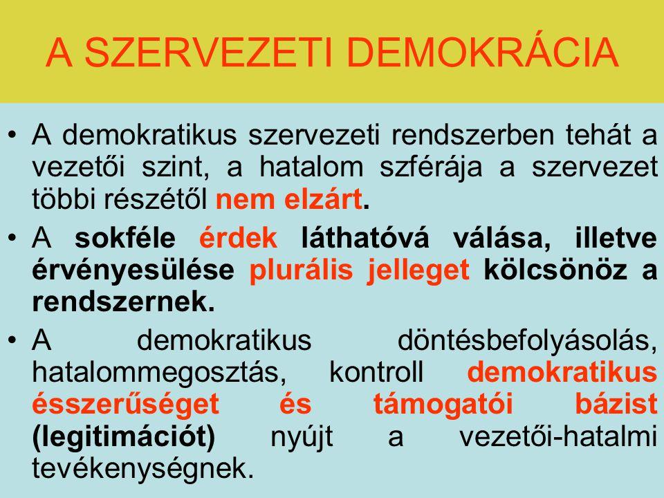 A SZERVEZETI DEMOKRÁCIA A demokratikus szervezeti rendszerben tehát a vezetői szint, a hatalom szférája a szervezet többi részétől nem elzárt.