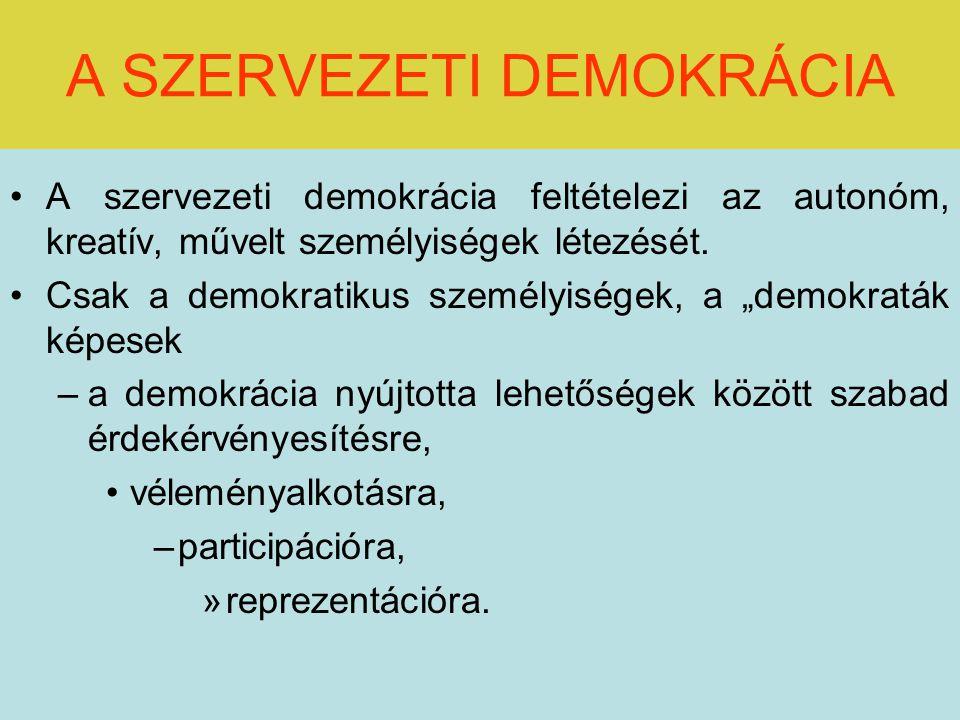 A SZERVEZETI DEMOKRÁCIA A szervezeti demokrácia feltételezi az autonóm, kreatív, művelt személyiségek létezését.