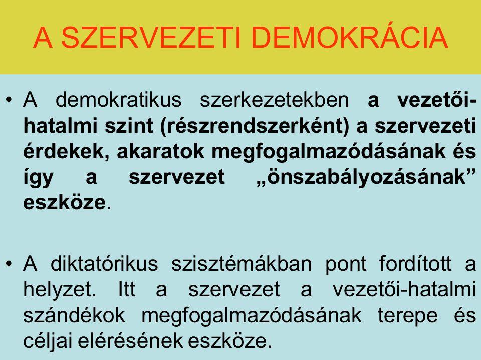 """A SZERVEZETI DEMOKRÁCIA A demokratikus szerkezetekben a vezetői- hatalmi szint (részrendszerként) a szervezeti érdekek, akaratok megfogalmazódásának és így a szervezet """"önszabályozásának eszköze."""