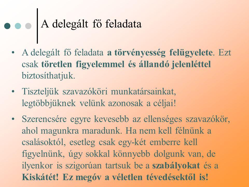A delegált fő feladata A delegált fő feladata a törvényesség felügyelete. Ezt csak töretlen figyelemmel és állandó jelenléttel biztosíthatjuk. Tisztel