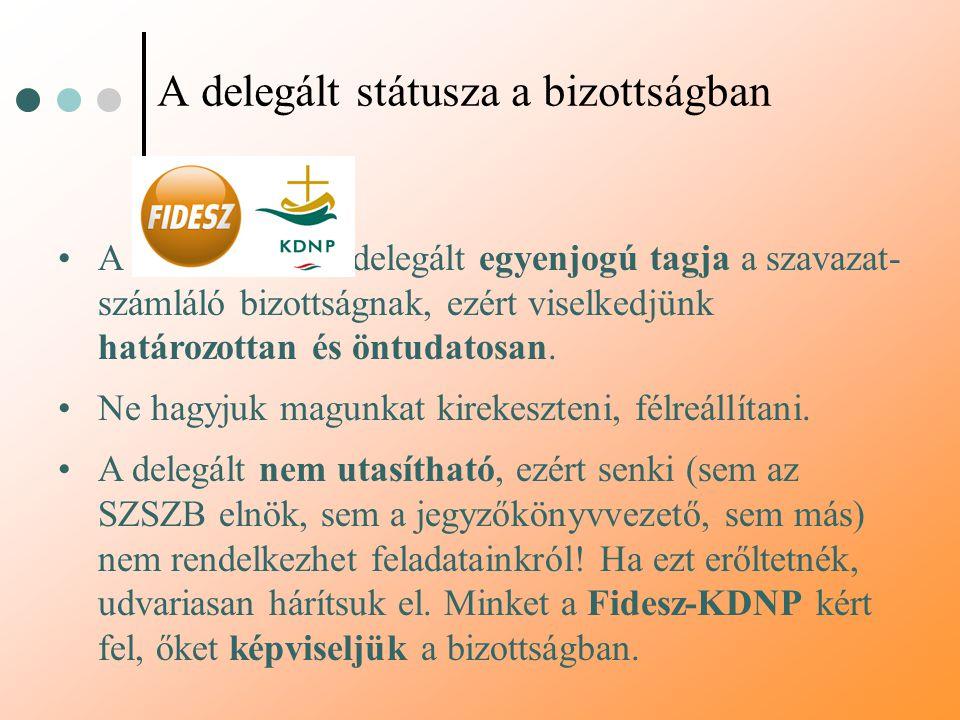 A delegált státusza a bizottságban A Fidesz-KDNP delegált egyenjogú tagja a szavazat- számláló bizottságnak, ezért viselkedjünk határozottan és öntuda