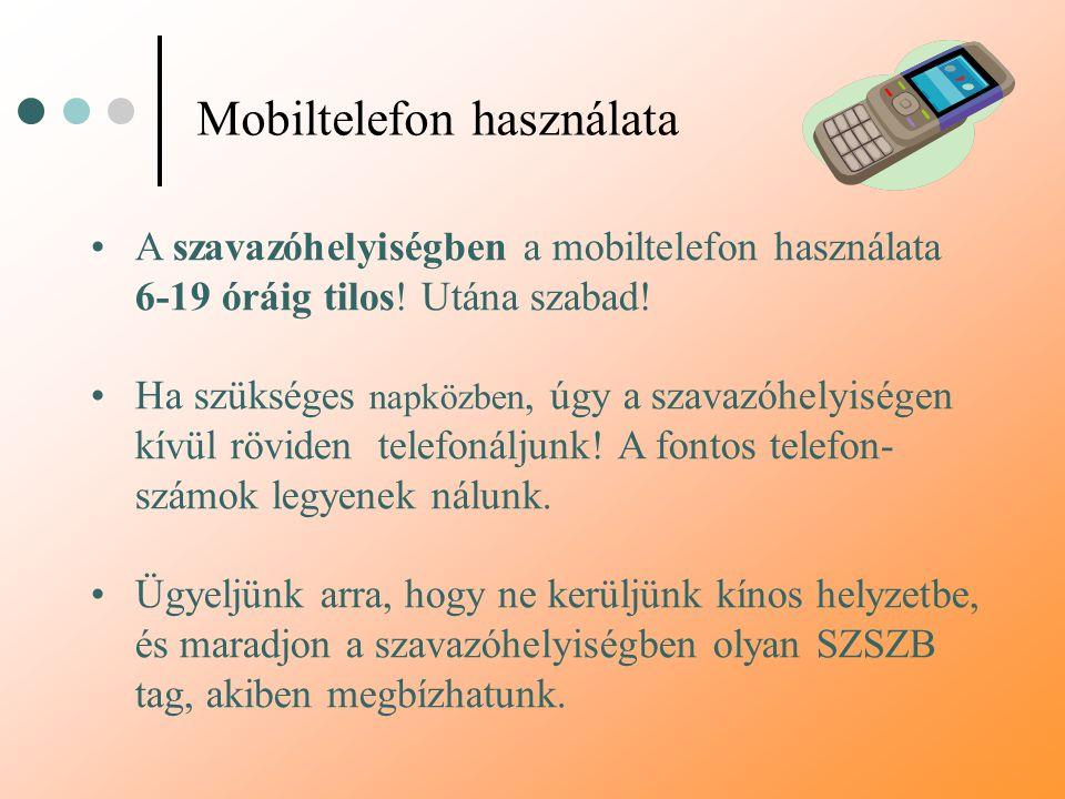 Mobiltelefon használata A szavazóhelyiségben a mobiltelefon használata 6-19 óráig tilos! Utána szabad! Ha szükséges napközben, úgy a szavazóhelyiségen