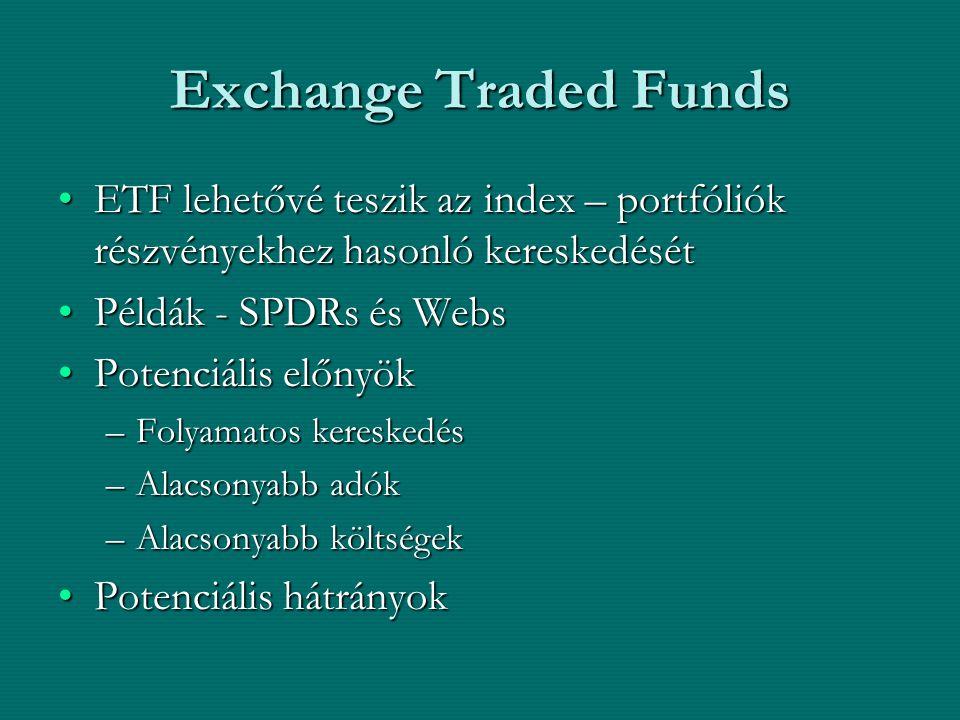 Exchange Traded Funds ETF lehetővé teszik az index – portfóliók részvényekhez hasonló kereskedésétETF lehetővé teszik az index – portfóliók részvények