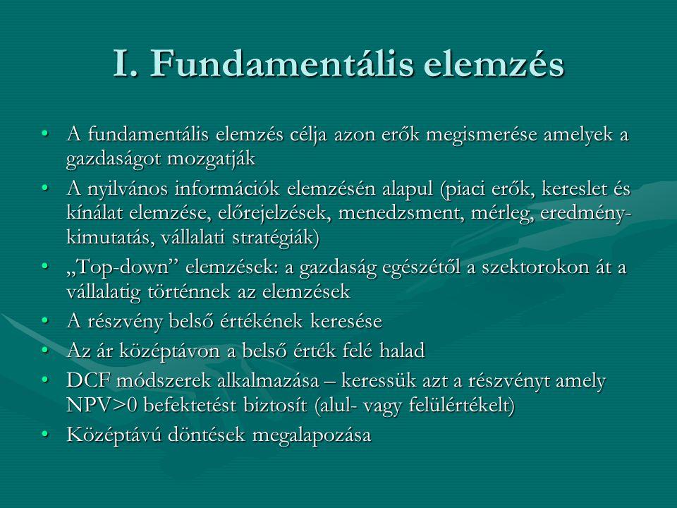 I. Fundamentális elemzés A fundamentális elemzés célja azon erők megismerése amelyek a gazdaságot mozgatjákA fundamentális elemzés célja azon erők meg