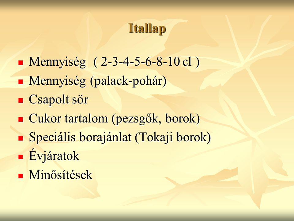 Itallap Mennyiség ( 2-3-4-5-6-8-10 cl ) Mennyiség ( 2-3-4-5-6-8-10 cl ) Mennyiség (palack-pohár) Mennyiség (palack-pohár) Csapolt sör Csapolt sör Cukor tartalom (pezsgők, borok) Cukor tartalom (pezsgők, borok) Speciális borajánlat (Tokaji borok) Speciális borajánlat (Tokaji borok) Évjáratok Évjáratok Minősítések Minősítések