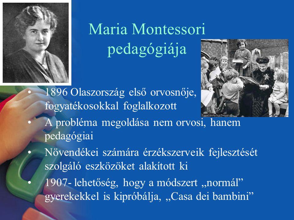 Maria Montessori pedagógiája 1896 Olaszország első orvosnője, fogyatékosokkal foglalkozott A probléma megoldása nem orvosi, hanem pedagógiai Növendéke