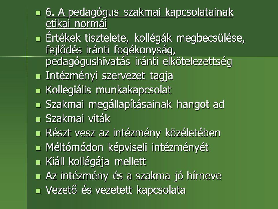 6. A pedagógus szakmai kapcsolatainak etikai normái 6. A pedagógus szakmai kapcsolatainak etikai normái Értékek tisztelete, kollégák megbecsülése, fej