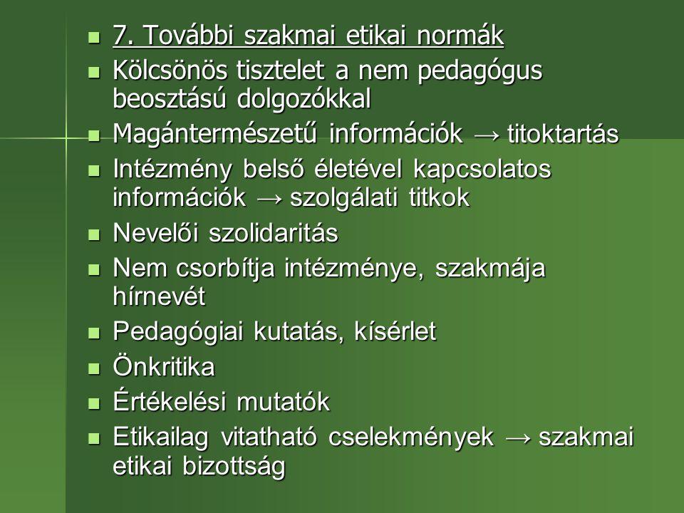 7. További szakmai etikai normák 7. További szakmai etikai normák Kölcsönös tisztelet a nem pedagógus beosztású dolgozókkal Kölcsönös tisztelet a nem