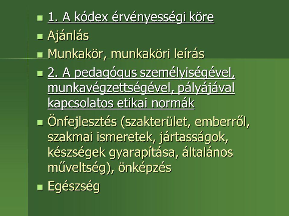 1. A kódex érvényességi köre 1. A kódex érvényességi köre Ajánlás Ajánlás Munkakör, munkaköri leírás Munkakör, munkaköri leírás 2. A pedagógus személy