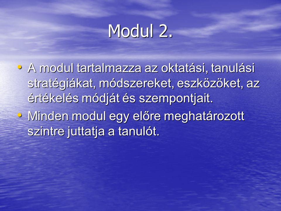 Modul 2. A modul tartalmazza az oktatási, tanulási stratégiákat, módszereket, eszközöket, az értékelés módját és szempontjait. A modul tartalmazza az