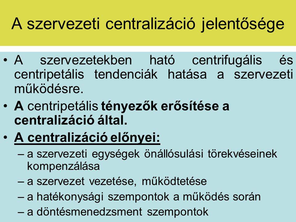A szervezeti centralizáció jelentősége Vázolja fel a szervezeti centralizáció lehetséges hátrányait!