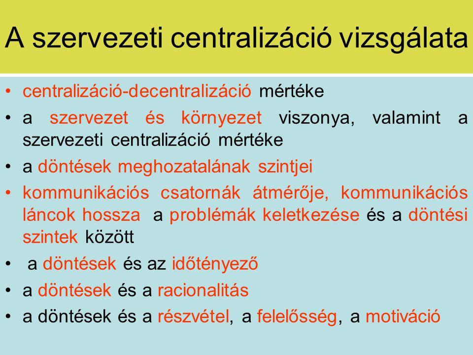 A szervezeti centralizáció vizsgálata A centralizáció nő A szervezeti centrum hatalma nő A szervezeti decentrumok hatalma nő szervezeti környezeti hatás input felület input érzékenység