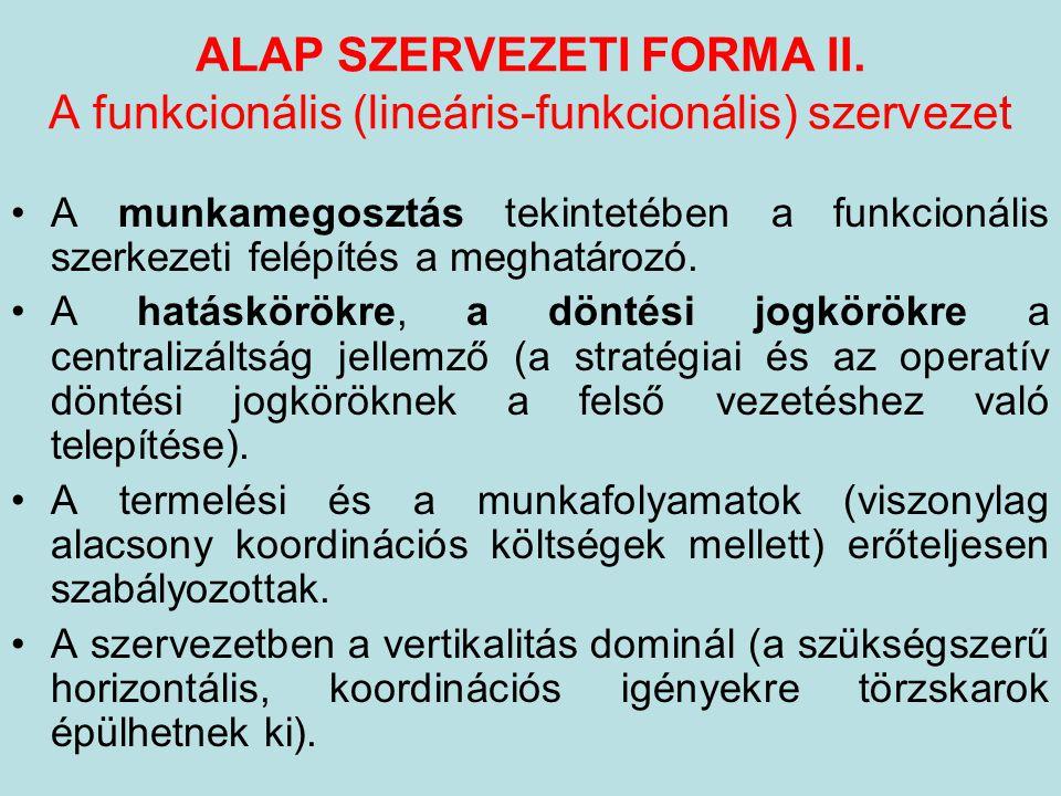 ALAP SZERVEZETI FORMA II. A funkcionális (lineáris-funkcionális) szervezet A munkamegosztás tekintetében a funkcionális szerkezeti felépítés a meghatá