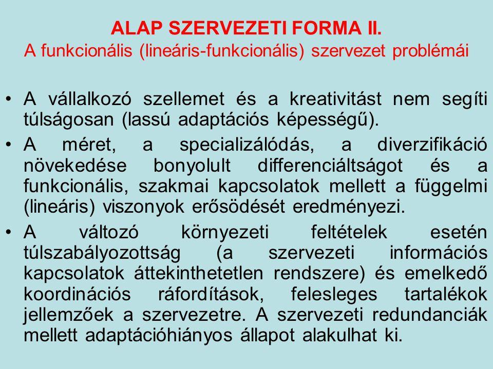ALAP SZERVEZETI FORMA II. A funkcionális (lineáris-funkcionális) szervezet problémái A vállalkozó szellemet és a kreativitást nem segíti túlságosan (l
