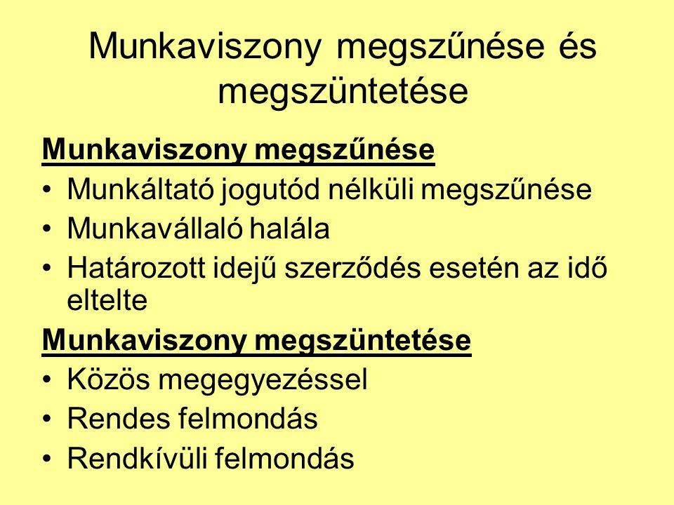 Munkaviszony megszűnése és megszüntetése Munkaviszony megszűnése Munkáltató jogutód nélküli megszűnése Munkavállaló halála Határozott idejű szerződés