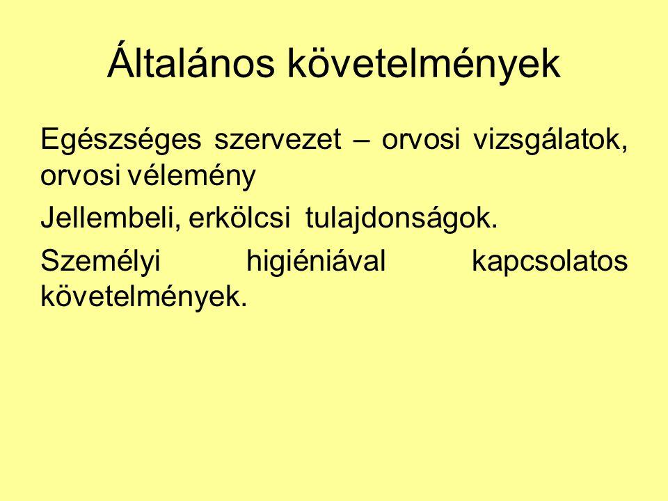 Szakmai követelmények Az 5/1990.