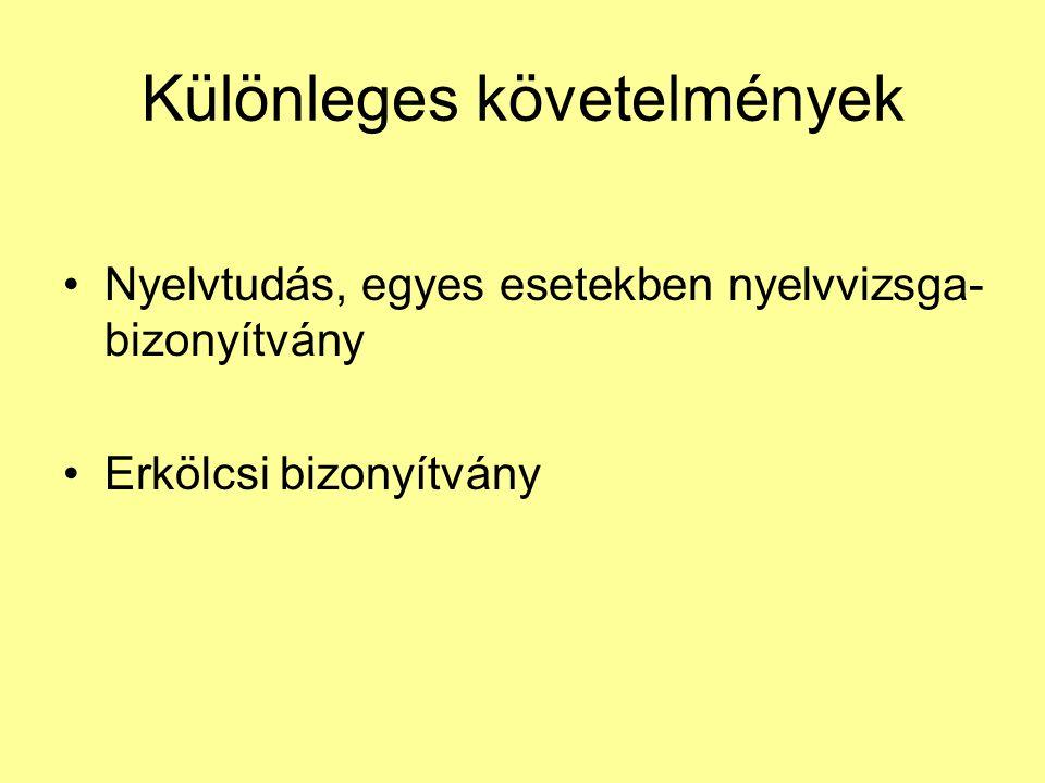 Különleges követelmények Nyelvtudás, egyes esetekben nyelvvizsga- bizonyítvány Erkölcsi bizonyítvány