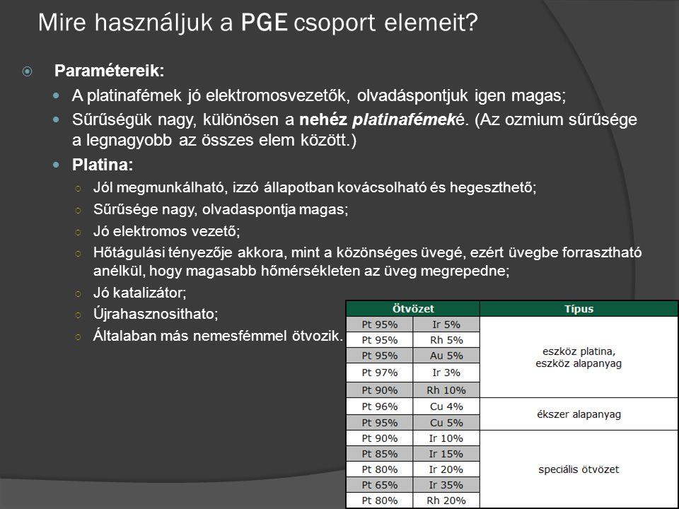 Mire használjuk a PGE csoport elemeit?  Paramétereik: A platinafémek jó elektromosvezetők, olvadáspontjuk igen magas; Sűrűségük nagy, különösen a neh