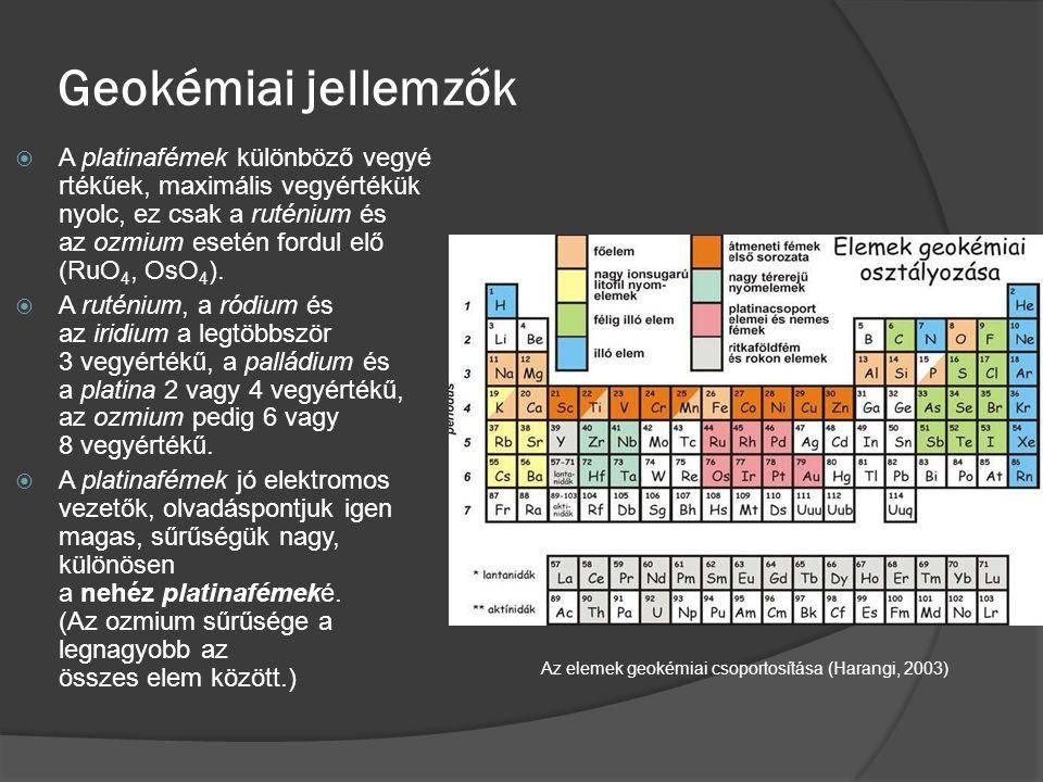 Geokémiai jellemzők  A platinafémek különböző vegyé rtékűek, maximális vegyértékük nyolc, ez csak a ruténium és az ozmium esetén fordul elő (RuO 4, O