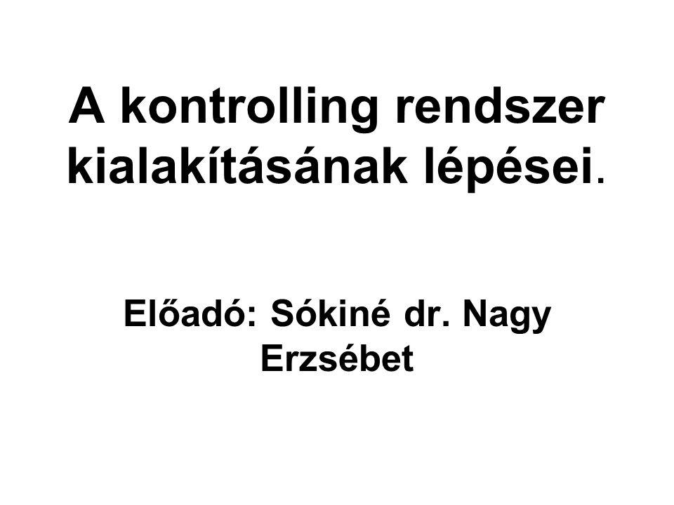 A kontrolling rendszer kialakításának lépései. Előadó: Sókiné dr. Nagy Erzsébet