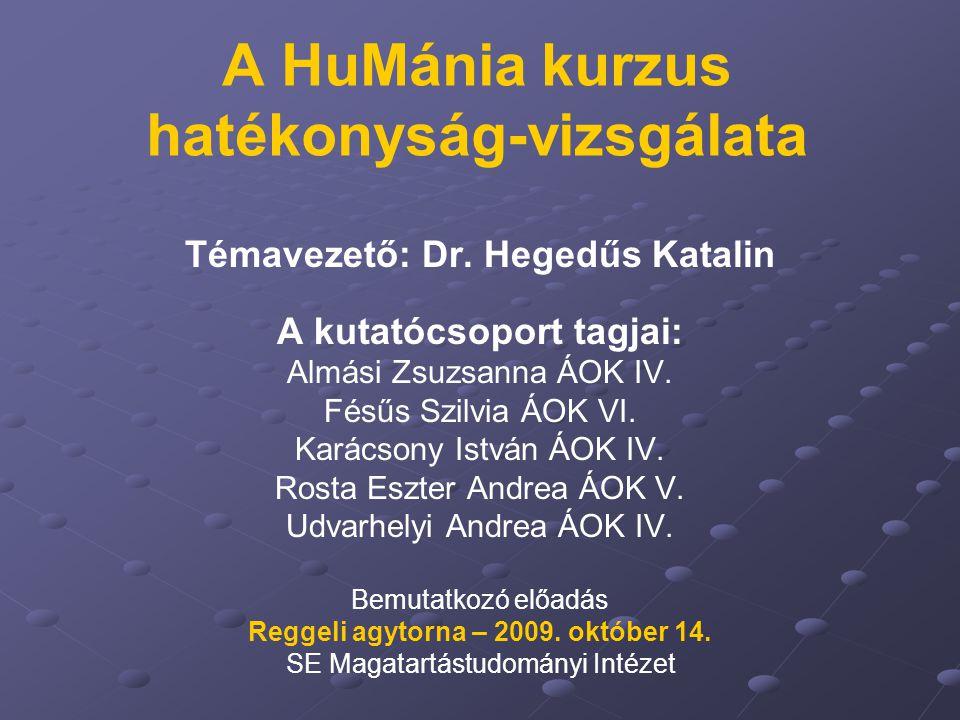 A HuMánia kurzus hatékonyság-vizsgálata Témavezető: Dr.
