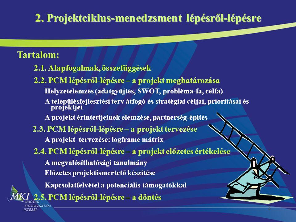 2 2. Projektciklus-menedzsment lépésről-lépésre Tartalom: 2.1. Alapfogalmak, összefüggések 2.2. PCM lépésről-lépésre – a projekt meghatározása Helyzet