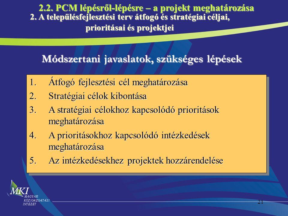 21 2. A településfejlesztési terv átfogó és stratégiai céljai, prioritásai és projektjei 2.2. PCM lépésről-lépésre – a projekt meghatározása 1.Átfogó