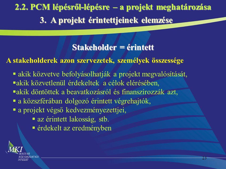 23 3. A projekt érintettjeinek elemzése Stakeholder = érintett A stakeholderek azon szervezetek, személyek összessége  akik közvetve befolyásolhatják