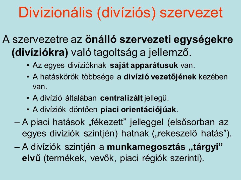 Divizionális (divíziós) szervezet A szervezetre az önálló szervezeti egységekre (divíziókra) való tagoltság a jellemző. Az egyes divízióknak saját app