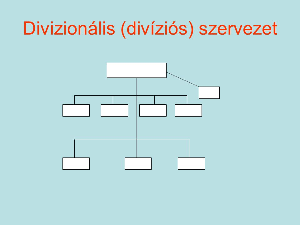 A divizionális szervezetek (elszámolási egységek) típusai: –cost-center: befolyásolható összköltség; –profit center: befolyásolható nyereség, költség, hozam; –investment center: befolyásolható nyereség, befektetett tőke