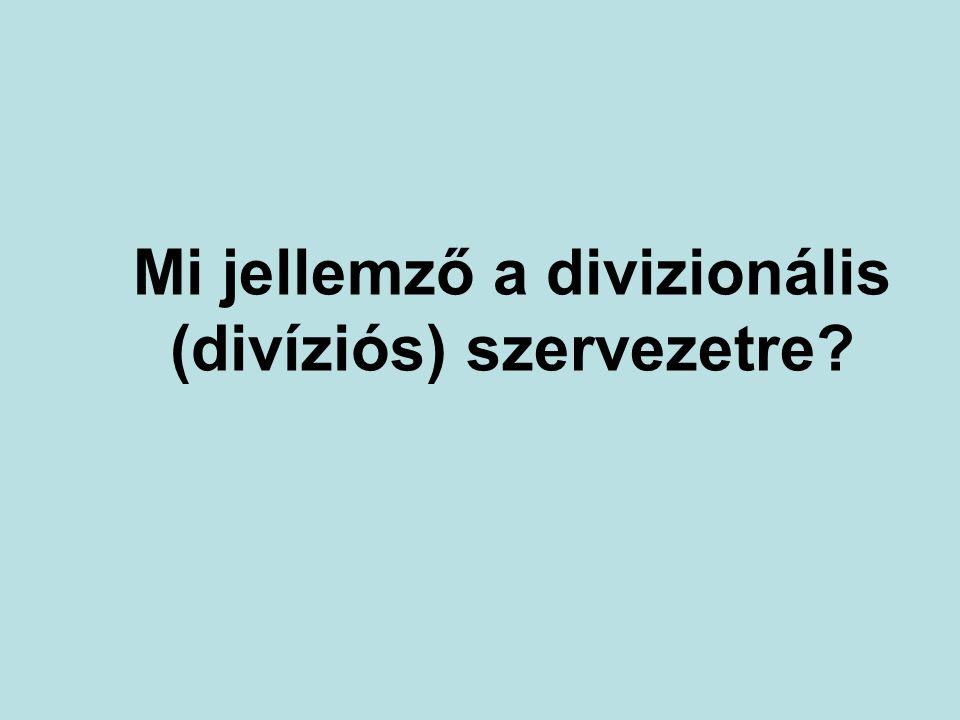 Mi jellemző a divizionális (divíziós) szervezetre?