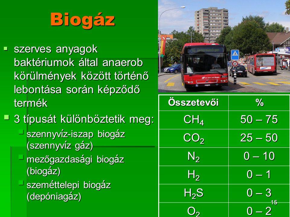 16 A biogáz-termelés szakaszai  2 lépésben történik a biogáz-termelés :  közönséges anaerob baktériumok a polimereket savakká, etanollá, hidrogénné és szén-dioxiddá hidrolizálják (fermentáció)  metánképződés: a széndioxid metanogén baktériumok hatására hidrogénnel metánná redukálódik.