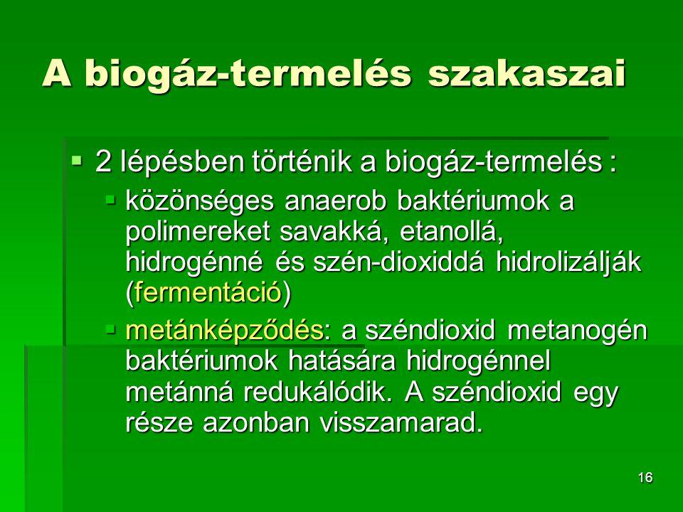 16 A biogáz-termelés szakaszai  2 lépésben történik a biogáz-termelés :  közönséges anaerob baktériumok a polimereket savakká, etanollá, hidrogénné