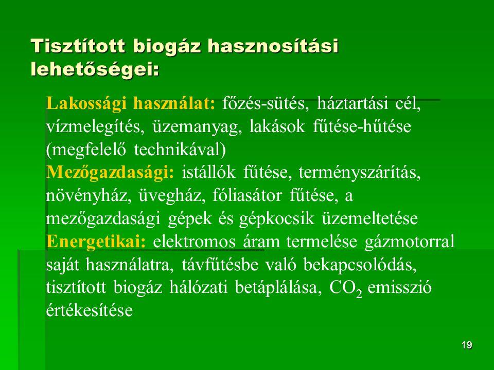 20 Biohidrogén  a legígéretesebb globális energiahordozó  energiatartalma: 122 MJ/kg  felhasználása során vízzé ég el, ezért elméletileg a legkevésbé környezetszennyező: 2 H 2 (g) + O 2 (g) → 2 H 2 O(l) + 572 kJ (286 kJ/mol)  vízből vagy szerves anyagokból nyerhetjük külső, primer energiaforrás felhasználásával  szállítására és tárolására hatékony és biztonságos eljárásokat dolgoztak ki