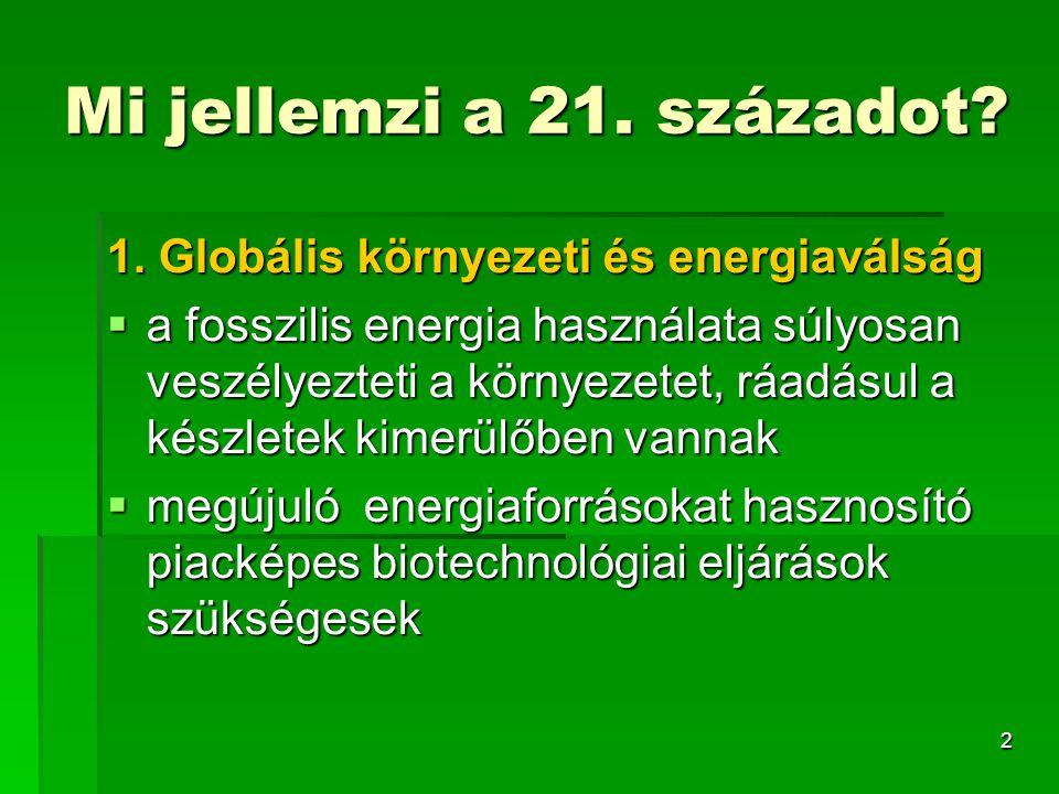 3 BIO- VEGYIPAR EGÉSZSÉG ENERGIA MEZ Õ ÕGAZDASÁG KÖRNYEZET GÉNTERÁPIA BIOTÁRSADALOM BIO- ALAPANYAG ENERGIA TECHNOLÓGIA IPAR EGÉSZSÉG ENERGIA GAZDASÁG KÖRNYEZET BIOETANOL METÁN ÚJ GYÓGYSZEREK DIAGNOSZTIKA KÖRNYEZETVÉDELEM REZISZTENS NÖVÉNYEK TRANSZGÉNIKUS ÁLLATOK ÁLLATEGÉSZSÉGÜGY BIOGÁZ ÉLELMISZERIPAR Vörös biotech egészségügyi felhasználású termékek Fehér biotech ipari felhasználású termékek Zöld biotech mezőgazdasági, élelmiszer és környezeti felhasználású biotechológia BIO- ALAPANYAG ENERGIA TECHNOLÓGIA IPAR EGÉSZSÉG ENERGIA GAZDASÁG KÖRNYEZET BIOETANOL METÁN ÚJ GYÓGYSZEREK DIAGNOSZTIKA KÖRNYEZETVÉDELEM REZISZTENS NÖVÉNYEK TRANSZGÉNIKUS ÁLLATOK Vörös biotech egészségügyi felhasználású termékek Fehér biotech ipari felhasználású termékek Zöld biotech mezőgazdasági, élelmiszer és környezeti felhasználású biotechológia ÁLLATEGÉSZSÉGÜGY BIOGÁZ ÉLELMISZERIPAR 2.