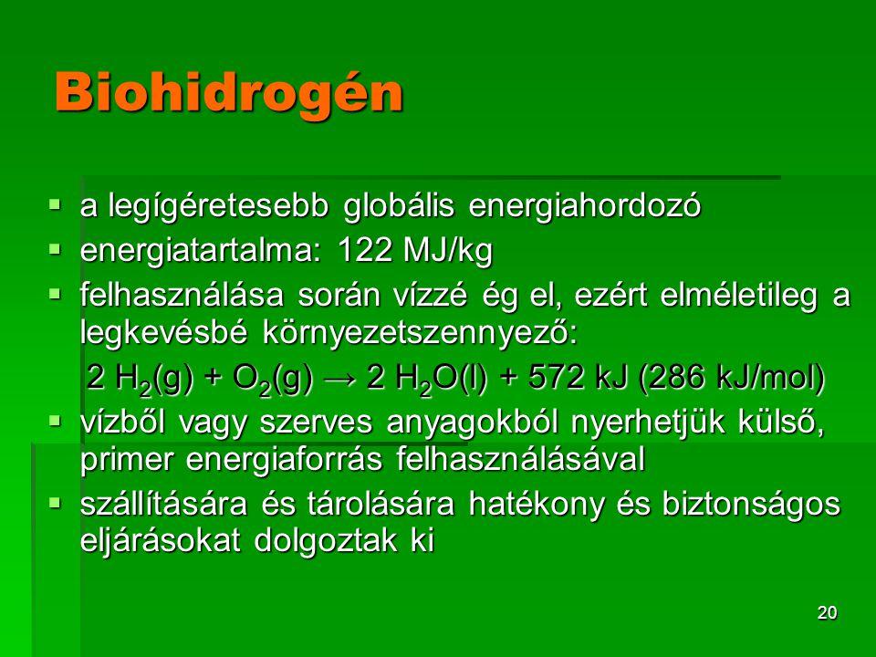 20 Biohidrogén  a legígéretesebb globális energiahordozó  energiatartalma: 122 MJ/kg  felhasználása során vízzé ég el, ezért elméletileg a legkevés