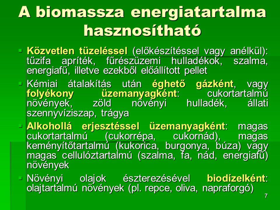 8 A biomasszából nyerhető anyagok cellulóz  cukrok hemicellulóz  etanol, butanol lignin  ragasztóanyagok cukor  bioalkohol (fermentációval) olajok  biodízel (átészterezéssel) biogáz (anaerob fermentációval)