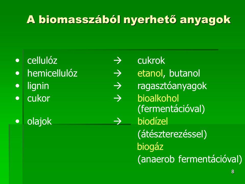 9 Bioetanol  Olyan nagyrészt etil-alkoholból álló üzemanyag, melyet biológiailag megújuló energiaforrások (növények) felhasználásával nyernek abból a célból, hogy benzint helyettesítő, vagy annak adalékaként szolgáló motor-üzemanyagot kapjanak  Alapanyaga: magas cukortartalmú növény (pl.