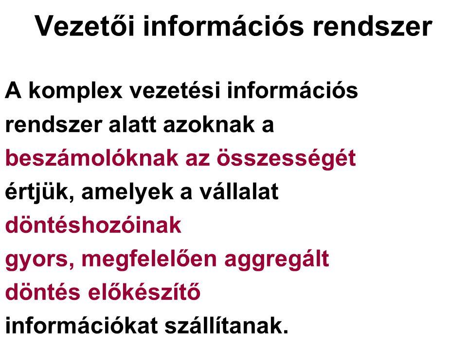 Vezetői információs rendszer A komplex vezetési információs rendszer alatt azoknak a beszámolóknak az összességét értjük, amelyek a vállalat döntéshozóinak gyors, megfelelően aggregált döntés előkészítő információkat szállítanak.