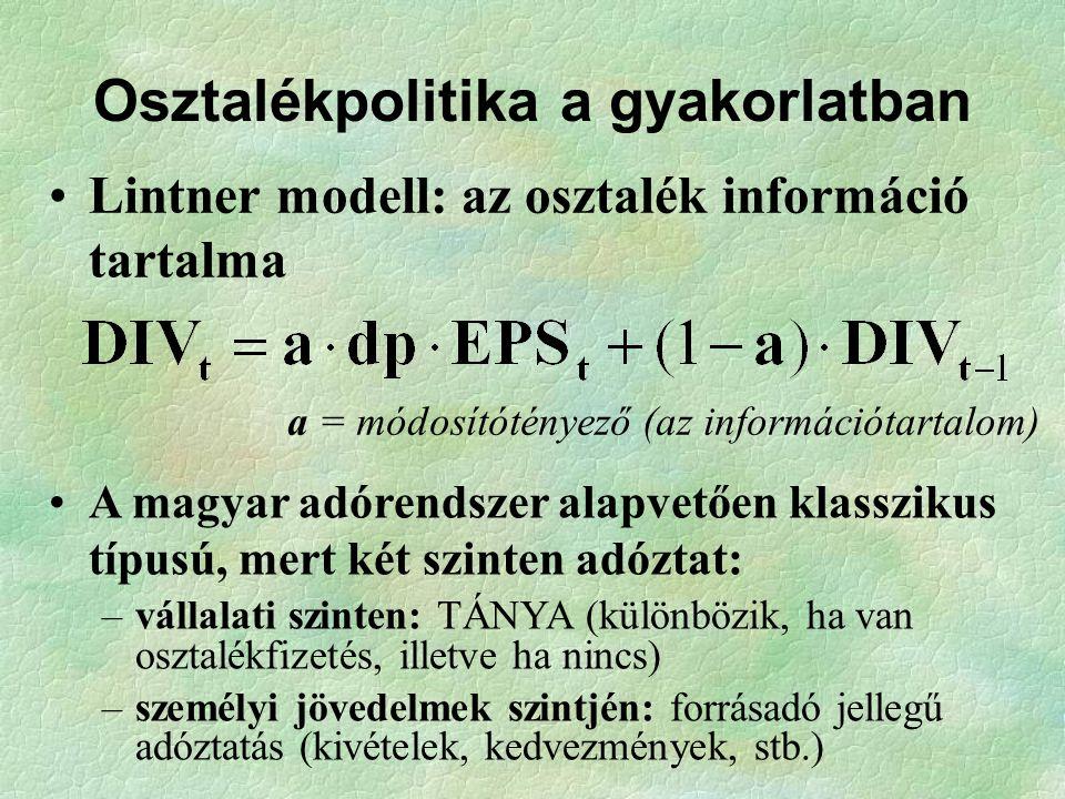 Osztalékpolitika a gyakorlatban Lintner modell: az osztalék információ tartalma A magyar adórendszer alapvetően klasszikus típusú, mert két szinten ad