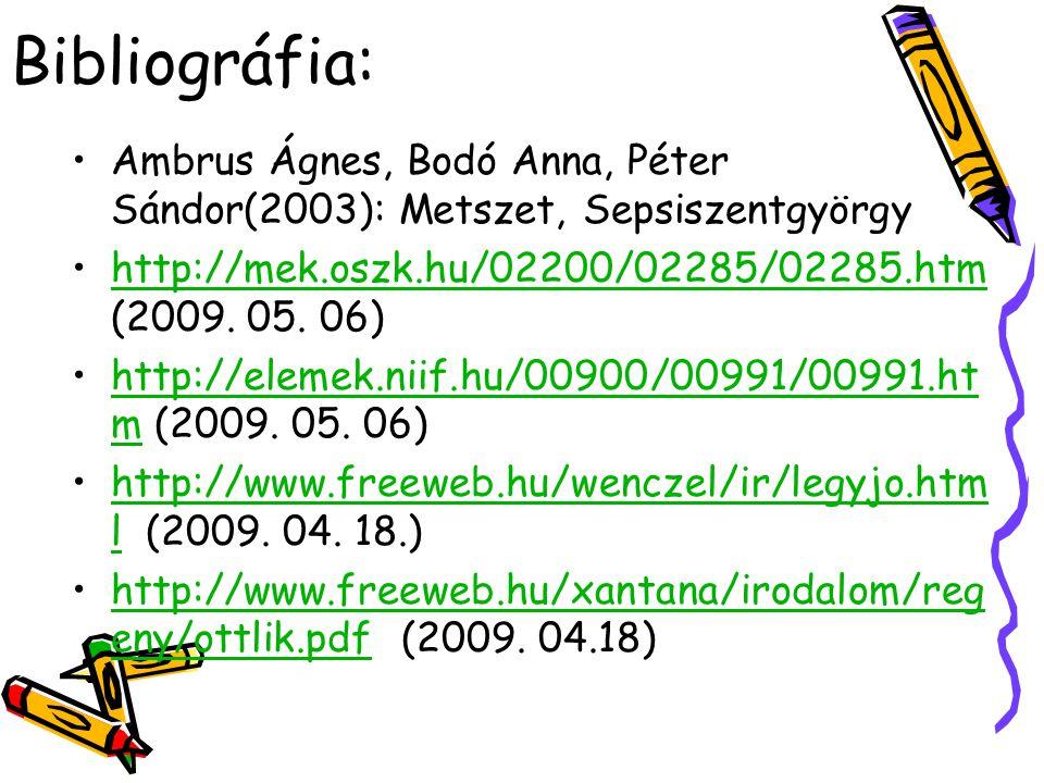 Bibliográfia: Ambrus Ágnes, Bodó Anna, Péter Sándor(2003): Metszet, Sepsiszentgyörgy http://mek.oszk.hu/02200/02285/02285.htm (2009. 05. 06)http://mek