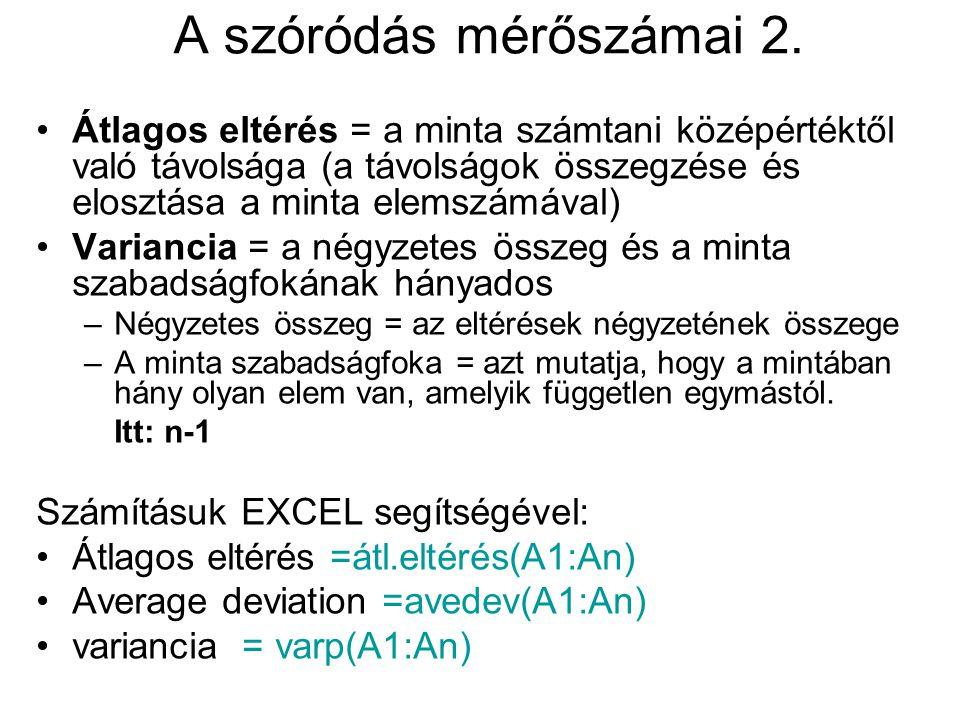 A szóródás mérőszámai 2. Átlagos eltérés = a minta számtani középértéktől való távolsága (a távolságok összegzése és elosztása a minta elemszámával) V