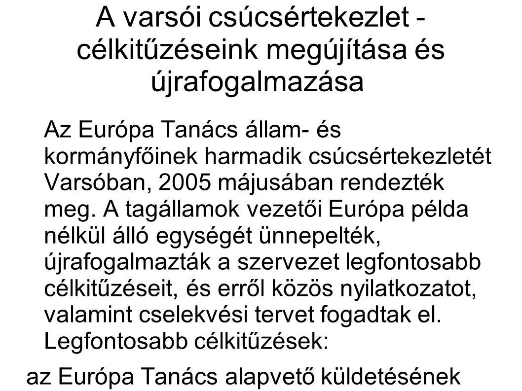 A varsói csúcsértekezlet - célkitűzéseink megújítása és újrafogalmazása Az Európa Tanács állam- és kormányfőinek harmadik csúcsértekezletét Varsóban, 2005 májusában rendezték meg.